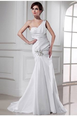 Appliques Sleeveless One Shoulder Lace-up Sweep Train Wedding Dress - 1
