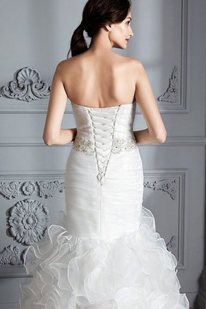 Sweetheart Ruffles Mermaid Sleeveless Sweep Train Wedding Dress - 5