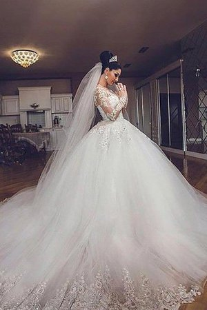 V-Neck Long Sleeves Ball Gown Tulle Court Train Wedding Dress - 2