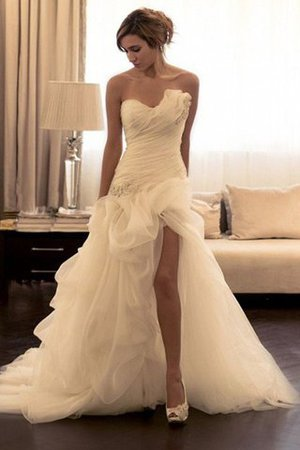 Organza Sweetheart Ball Gown Sweep Train Natural Waist Wedding Dress - 1