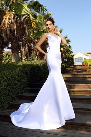 Beading Sleeveless Empire Waist Court Train Satin Wedding Dress - 1