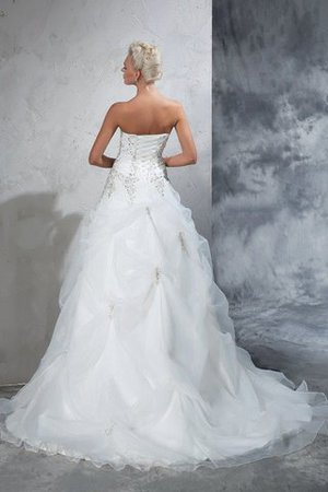 Lace-up Tulle Long Chapel Train Strapless Wedding Dress - 2