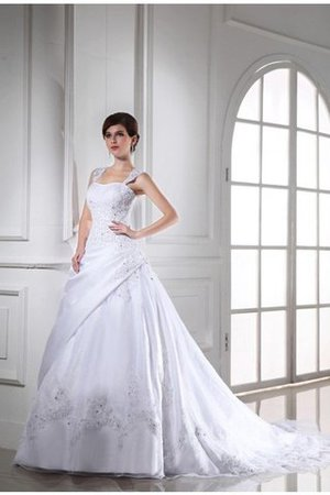 Organza Beading Sleeveless Empire Waist Strapless Wedding Dress - 1