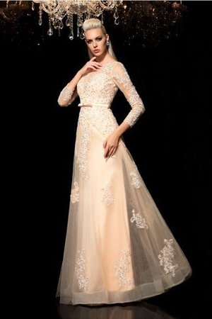Princess Long Sleeves Zipper Up Appliques Floor Length Wedding Dress - 3