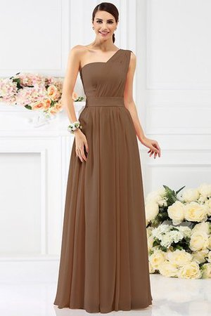 Pleated Long A-Line One Shoulder Bridesmaid Dress - 4