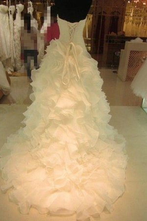 Sweetheart Organza Natural Waist Ball Gown Sleeveless Wedding Dress - 2