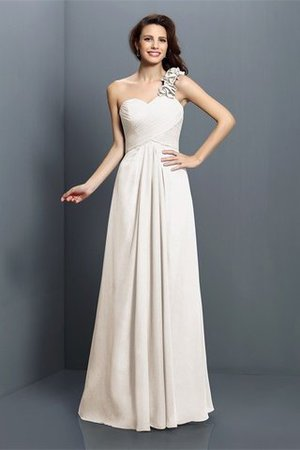 Zipper Up One Shoulder Chiffon A-Line Bridesmaid Dress - 16