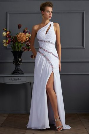 Sheath Sweep Train Long One Shoulder Beading Prom Dress - 1