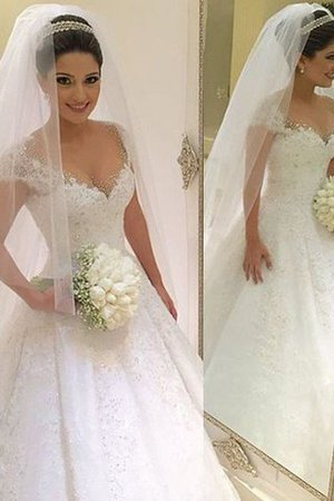 Natural Waist Floor Length V-Neck Tulle Ball Gown Wedding Dress - 1
