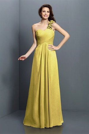 Zipper Up One Shoulder Chiffon A-Line Bridesmaid Dress - 8