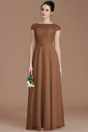 Floor Length Lace Chiffon Natural Waist Zipper Up Bridesmaid Dress - 9