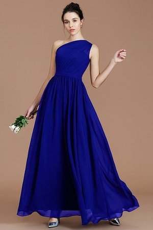Floor Length Natural Waist Chiffon Ruched One Shoulder Bridesmaid Dress - 29