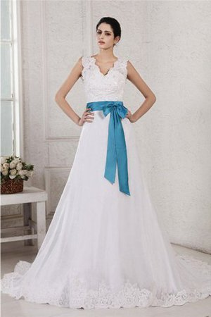 V-Neck Empire Waist Sashes A-Line Appliques Wedding Dress - 1