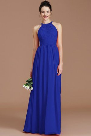 Ruched Floor Length Chiffon Natural Waist Halter Bridesmaid Dress - 33
