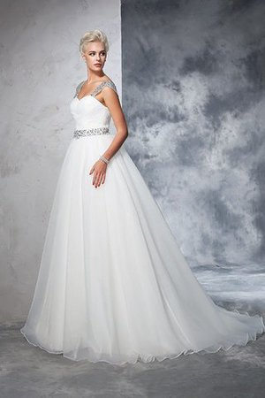 Ball Gown Spaghetti Straps Sleeveless Ruched Empire Waist Wedding Dress - 4