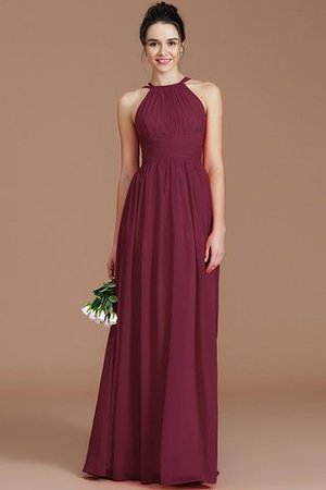 Ruched Floor Length Chiffon Natural Waist Halter Bridesmaid Dress - 9