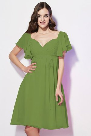 Ruffles Knee Length Short Sleeves Sweetheart Bridesmaid Dress - 12
