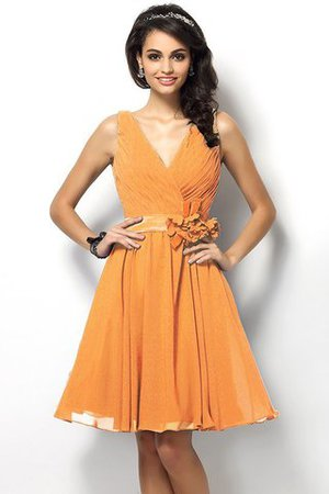 Draped A-Line V-Neck Natural Waist Bridesmaid Dress - 20
