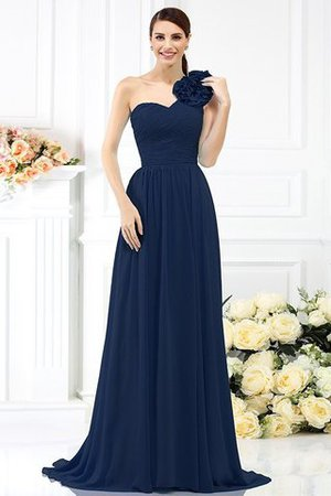 Chiffon A-Line One Shoulder Long Flowers Bridesmaid Dress - 10