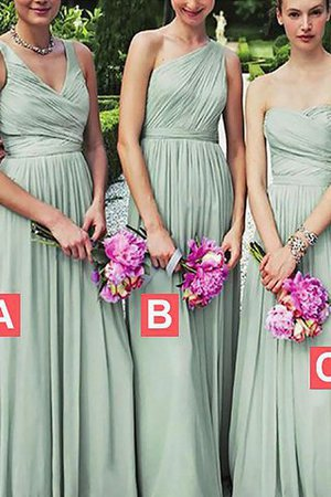 Natural Waist Chiffon Sleeveless Floor Length A-Line Bridesmaid Dress - 1