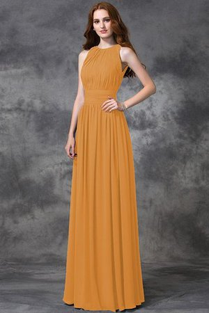 Sleeveless Ruched Natural Waist Chiffon Long Bridesmaid Dress - 20