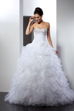 Long Sleeveless Beading Cathedral Train Lace-up Wedding Dress - 1
