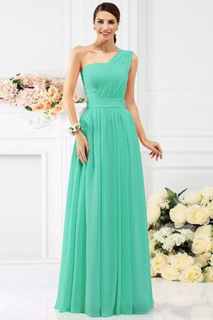Pleated Long A-Line One Shoulder Bridesmaid Dress - 15