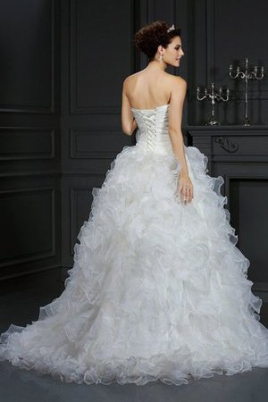 Organza Flowers Sweetheart Court Train Lace-up Wedding Dress - 2