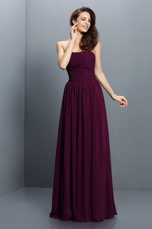 Strapless A-Line Pleated Zipper Up Bridesmaid Dress - 1