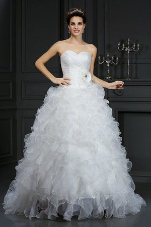 Organza Flowers Sweetheart Court Train Lace-up Wedding Dress - 1