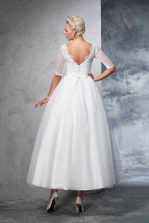 Ball Gown Ankle Length Half Sleeves Lace Long Wedding Dress - 2