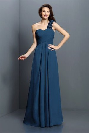 Zipper Up One Shoulder Chiffon A-Line Bridesmaid Dress - 10