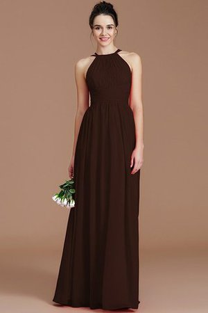 Ruched Floor Length Chiffon Natural Waist Halter Bridesmaid Dress - 11
