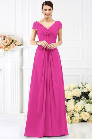 Long Empire Waist Pleated A-Line Short Sleeves Bridesmaid Dress - 11