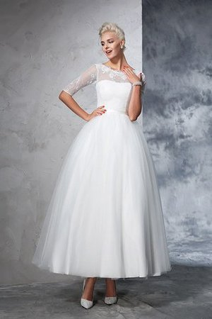 Ball Gown Ankle Length Half Sleeves Lace Long Wedding Dress - 3