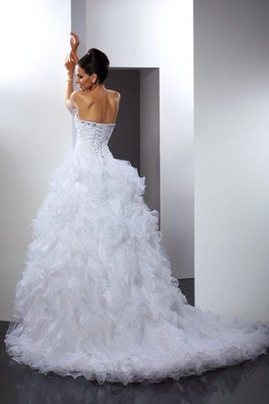 Long Sleeveless Beading Cathedral Train Lace-up Wedding Dress - 2