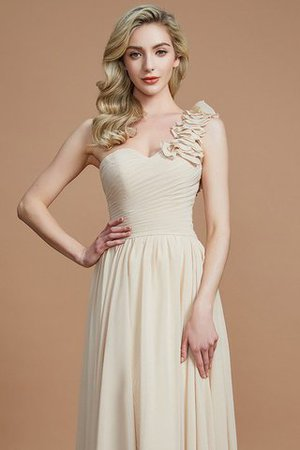 Sleeveless Natural Waist One Shoulder A-Line Chiffon Bridesmaid Dress - 6