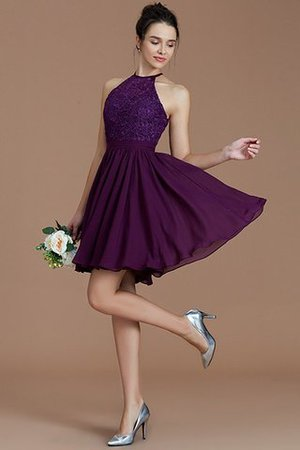 A-Line Short Halter Natural Waist Bridesmaid Dress - 19