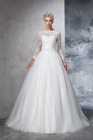 Sweep Train Long Zipper Up Ball Gown Long Sleeves Wedding Dress - 3