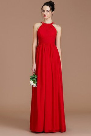 Ruched Floor Length Chiffon Natural Waist Halter Bridesmaid Dress - 3