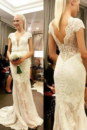 Natural Waist Sheath Short Sleeves Sweep Train V-Neck Wedding Dress - 1