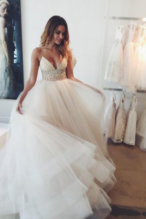 Tulle Natural Waist Court Train Spaghetti Straps Ball Gown Wedding Dress - 1