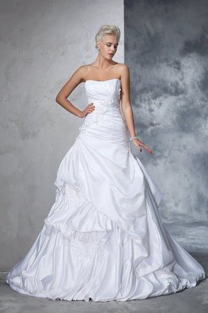 Natural Waist Appliques Long Chapel Train Strapless Wedding Dress - 1