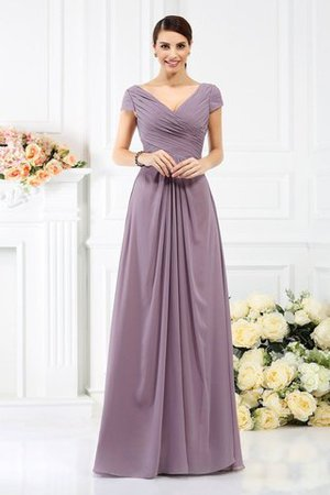 Long Empire Waist Pleated A-Line Short Sleeves Bridesmaid Dress - 1