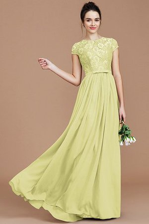 A-Line Jewel Lace Short Sleeves Bridesmaid Dress - 14