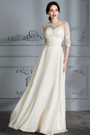 Natural Waist A-Line Scoop Half Sleeves Wedding Dress - 4