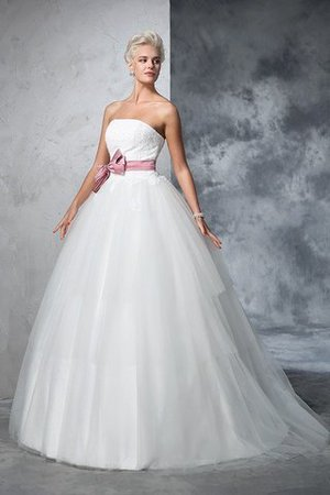 Empire Waist Court Train Accented Bow Ball Gown Strapless Wedding Dress - 6