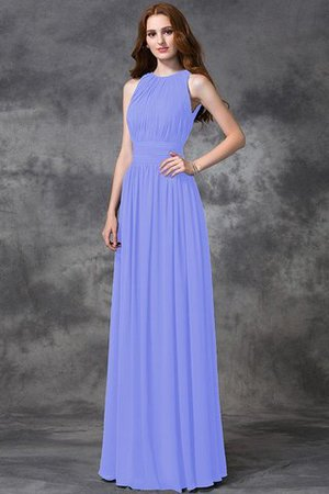Sleeveless Ruched Natural Waist Chiffon Long Bridesmaid Dress - 17