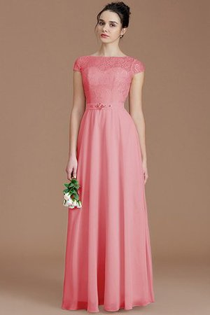Floor Length Lace Chiffon Natural Waist Zipper Up Bridesmaid Dress - 33