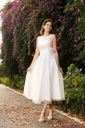 Zipper Up Ankle Length A-Line Sashes Long Wedding Dress - 1